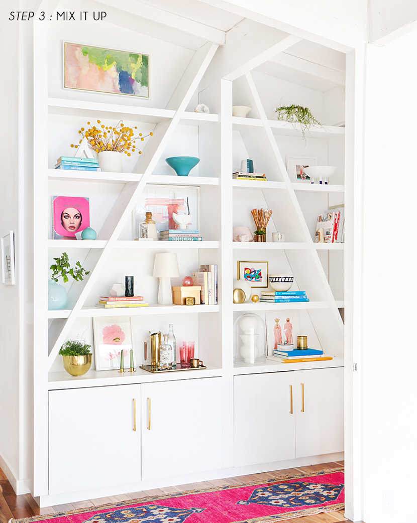 Emily-Henderson-Pink-Shelf-Styling-Step-3